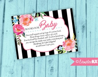 "Books for Baby Insert Card for Baby Shower - ""Please Bring a Book instead of a Card"" - 8 Printable 3.5x2.5 inch cards - Instant Download"