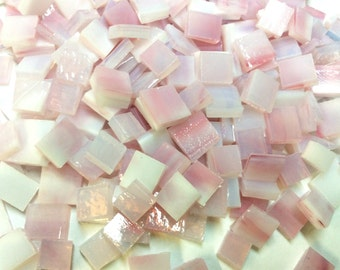 PINK ANGEL MOTTLED Odd 75 Small Size mix Stained Glass Mosaic Tile Ice4