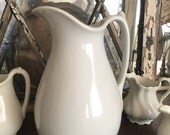 Vintage White Ironstone Pitcher - Royal Patent Ironstone, English Ironstone Pitcher