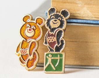 Mascot Misha pins set 2, fun Soviet pins Bear, rare Bear Cub from Olympics games in Moscow badges