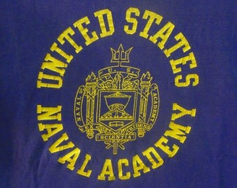 Vintage 80s Champion Blue Bar United States Naval Academy Blue T-Shirt