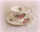 25% YR END SALE Royal Albert Lily of the Valley Tea Cup and Saucer -  Lily of the Valley with Pretty Pink Roses