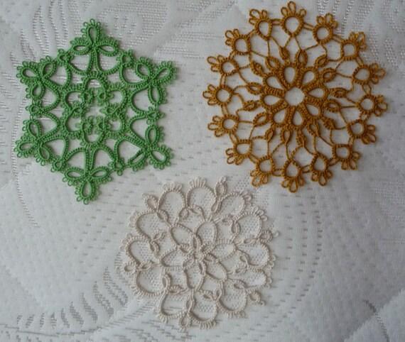 Three handmade Lace Coasters  - three handmade doilies -  home decor - tatting coasters