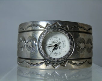 Vintage Navajo Sterling Silver Watch Cuff Excellent Hand Stamp Work Jewelry 78.64 grams 1.34 inch Wide DanPickedMinerals