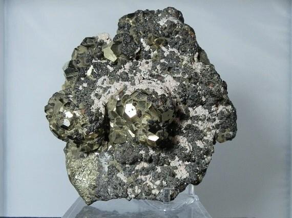 Mineral Display Rhodochrosite and Galena on Pyrite Cluster Collectible Matrix Specimen from Peru 116 mm 4.5 inches wide DanPickedMinerals