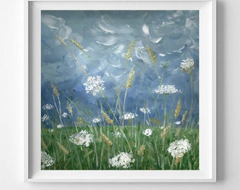 Stormbringer | Acrylic Painting of Summer Field and Sky |  Giclee Art Print
