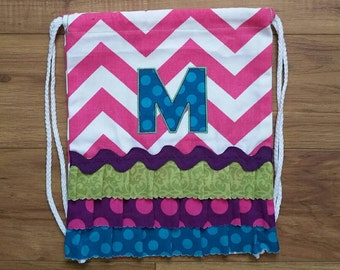 """SALE! Toddler Size PINK Chevron Drawstring Backpack with """"M"""" Monogram - Ready to ship"""