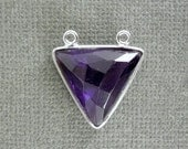 12% off Wholesale Amethyst Station Triangle Charm Pendant - 16mm Sterling Silver Bezel Double Bail Gemstone Charm Pendant (CA-06)