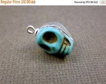 50% off HUGE Clearance Petit Turquoise Skull Silver Edged Skull Pendant with FREE PIRATE CoIn also available in Gold