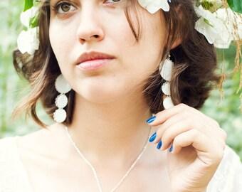 Wedding Earrings - White Earrings - Wedding Jewelry - Long Earrings - Art Jewelry - Earrings - Flower Earrings (15-2E)