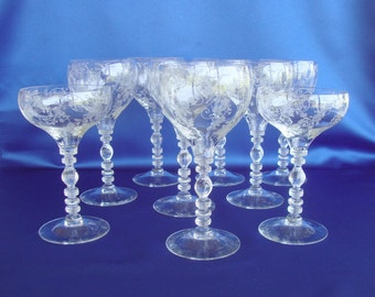 Gorgeous Cambridge etched Elaine Tally Ho water goblets wine glasses seven available 1402-100 1402/100