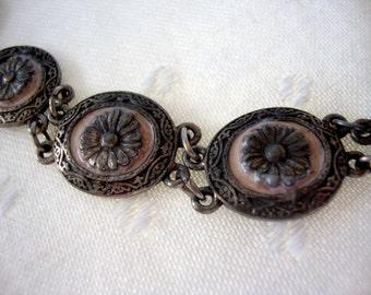 Beautiful vintage link bracelet silver tone pink enamel embossed metal