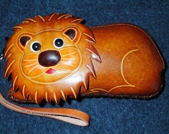 Leather Clutch Purse Lion