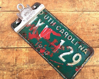 South Carolina Vintage LICENSE PLATE Clipboard | 1970s Metal Car License Plate | Industrial Photo Holder / Photo Display | Rustic Americana
