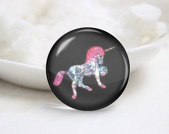 Handmade Round Unicorn Photo Glass Cabochons (P3559)