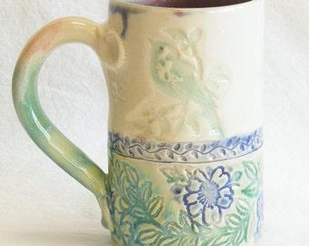 Ceramic green bird on a branch coffee mug 16oz. stoneware 16A012
