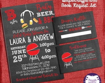 BBQ Baby Shower Invitation Set -Invite + Diaper Raffle Ticket + Book Request  - Chalkboard Style - I design you print