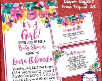 Baby Shower Invitation, Watercolor Flowers Invitation, Shower Invitation Set + Diaper Raffle Ticket + Book Request   - I design you print