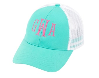 Monogrammed Trucker hat - Monogrammed beach hat - Sorority hat - Summretime Hat - Cap - Custom Monogrammed Hat