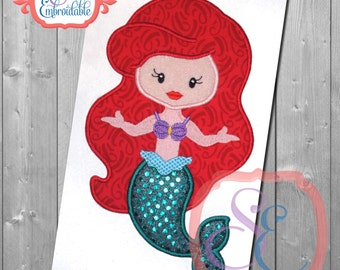 Girl's Princess - Disney Applique Birthday shirt - Custom colors available - birthday party - custom princess shirt - Little mermaid