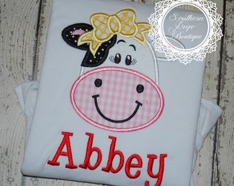 Cow Applique Shirt - Farm Theme - Animal Applique - Girl's Birthday Shirt - Boys Design also available