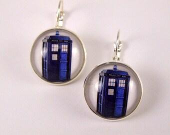 Blue police box leverback earrings