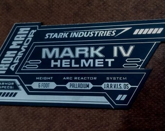 IRON MAN Mark 4 Display Name Placard For Your HELMET Armor iv