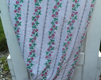 Vintage, sheet, twin, fitted, floral, red pink, flowers and green leaves, polka dots, stripes, bedding, fitted sheet, fitted, lady pepperell