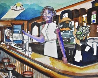 Edith's Tavern.  Original Watercolor.