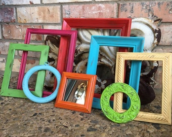 Empty Gallery Frames, Distressed Pink, Red, Blue and Green, Frames, Vintage Frame Set, Open Frames, Gallery Wall Frames, Hey Diddle Diddle