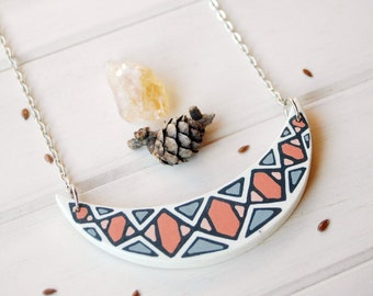 Geometric wood necklace,bib necklace ,designer  necklace,wooden pendant,gift for her