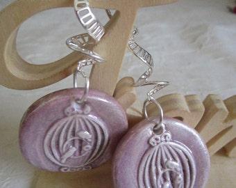 """Boucles d'oreilles en céramique """"Cage pour oiseaux"""""""