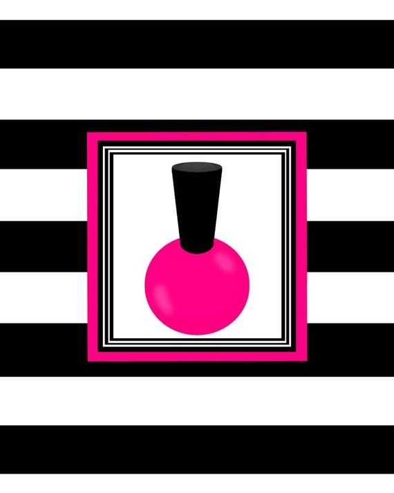 hot pink black nail polish salon wall art print decor bedroom