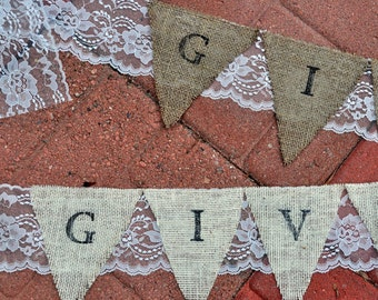 Burlap & Lace Give Thanks Pennant Banner