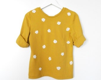 Simple Loose Silhouette Mustard Jersey Handmade Sweater with 3 D Lace Flowers / Casual yet Charming Sweater Top fit for S / M sized Women