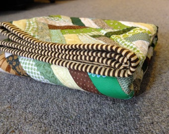Brown and Green Chevron Panel Baby Quilt
