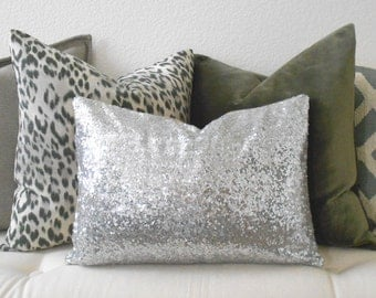 Sequins decorative pillow cover, red, gold, silver glitter holiday pillow