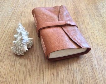 Mini Pocket Journal-Brown Leather-Travel Size-Notebook-Handmade