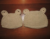 Custom order for foxy3ls, 2 Tan Bear Hats, size Newborn and 3-6 months.