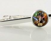 Star Wars theme tie clip, tie bar. Star Wars stocking stuffer, groomsmen gift, silver tie clip, SciFi accessories