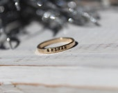 Gold Stacking Rings- Hand Stamped Gold Stacking Rings- Personalized Gold Rings- Hammered Gold Rings