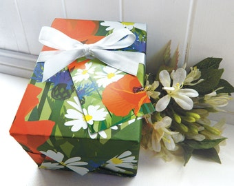Flower Gift Wrapping Paper Set - Poppy, poppies, summer meadow, remembrance