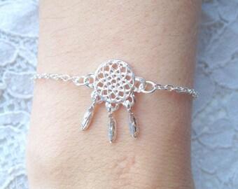 Silver boho dreamcatcher bracelet