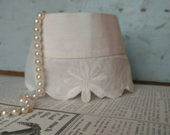 Victorian Linen Cuff or Collar With Milk Glass Button - Antique Stitched Neck Choker Collar, Clothing Embellishment, Craft + Sewing Supply