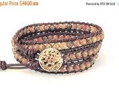 Clearance Sale Wrap Bracelet - Triple Wrap - Leather Cord - Gemstone Bracelet - Button Clasp