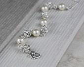 Bridal Bracelet - Wedding Bracelet Pearl Bracelet, Bridal Jewelry, Rhinestone Silver Bracelet Weddings jewelry, Chunky Wedding Bracelet