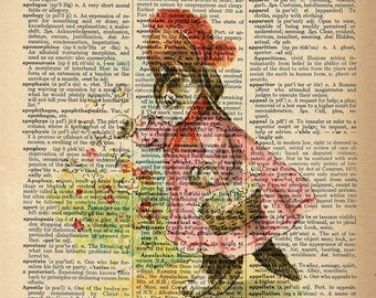 Dictionary Art Print - Flower Cat - Upcycled Vintage Dictionary Page Poster Print - Size 8x10