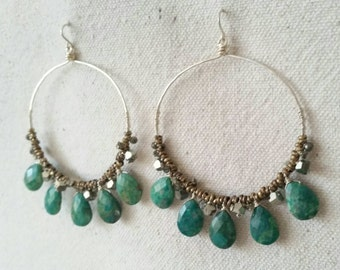 Nola . Faceted Chrysocolla Briolettes, Pyrite and Sterling Silver Hoop Earrings
