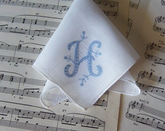 Something Blue Vintage Handkerchief Monogrammed H Bride's Wedding Hanky Hand Stitched Something Old Bridal Shower Gift Bridesmaid Gift
