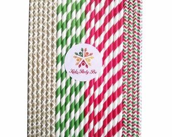 Free shipping paper straws Christmas holiday paper straws 19.7cm L 4 colors U pick 100pcs